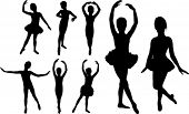 foto of little girls  - Set of ballet girls dancers silhouettes - JPG