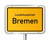 City limit sign BREMEN against white background