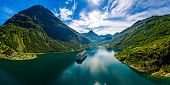 Geiranger fjord, Beautiful Nature Norway. The fjord is one of Norways most visited tourist sites. G poster