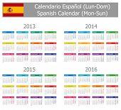 2013-2016 Type-1 Spanish Calendar Mon-Sun