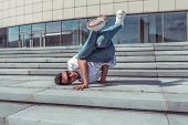 Young Stylish Man On Steps, Guy A Dancer, In Summer In City, Dancing Break Dance, Healthy Fitness At poster