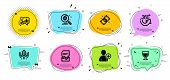 Wine Glass, Fair Trade And Seo Statistics Line Icons Set. Chat Bubbles With Quotes. Euro Money, 360  poster
