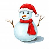 Vector Christmas Snowman Illustration Isolated On White Background. Cute Smiling Snowman Wearing Red poster