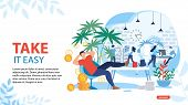 Take It Easy And Relax Motivating Landing Page. Happy Lazy Office Worker Lying On Sofa At Workplace  poster