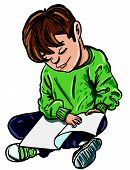Cartoon of boy reading a book. Isolated