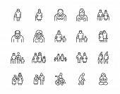 Elder People Care Flat Line Icons Set. Senior Couple, Nursing Home, Happy Old Man Exercising, Patien poster