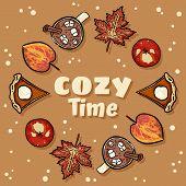 Cozy Time Decorative Wreath Cute Cozy Banner. Autumn Festive Poster. Fall Harvest Postcard poster