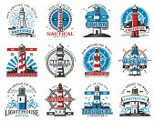 Lighthouse Heraldic Icons, Seafarer Marine Safety Sailing And Sailor Adventure Heritage. Vector Sea  poster