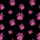 Paw Pattern, Seamless Vector Pattern Silhouettes Of Paw, Cat S Feet, Dog S Footprint. Pink On Black  poster