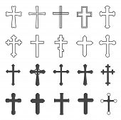 Christian Crosses. Decorative Crucifix Religion Catholic Symbol, Orthodox Faith Church Cross Design, poster