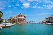 Port Saplaya. Valencia, Spain. May 16, 2019. View Of The Port Saplaya In The City Of Valencia, Spain poster
