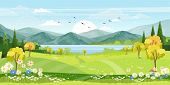 Panorama View Of Spring Village With Green Meadow On Hills With Blue Sky, Vector Cartoon Spring Or S poster