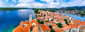 Beautiful Island Rab in Croatia. Townscape panorama from belltower poster