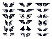 Silhouette Pair Of Wings Icon. Angel Wing, Decorative Fly Emblem And Eagle Stencil Symbols. Angels W poster