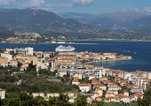 Aerial View Of Ajaccio, Corsica, France. The Harbor Area And City Seen From The Mountains. Harbor Bo poster