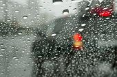 Road Through Wet Windshield. Urban Road And Moving Cars Are Visible Through The Wet Windshield. poster