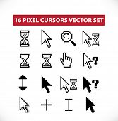 16 pixel cursors - vector set