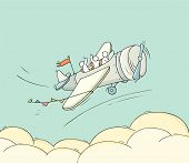 Sketch Of Little People Fly On Plane. Doodle Cute Miniature Scene About Transportation. Hand Drawn C poster