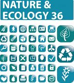 36 nature & ecology glossy buttons. vector. please, visit my portfolio to find more similar.