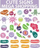 mega shopping - cute signs.vector