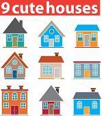 9 cute houses. vector