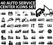 40 auto service center icons set. vector. black.