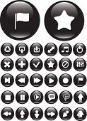30 glossy media buttons. black. vector