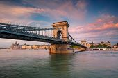 Budapest, Hungary. Cityscape Image Of Budapest With Chain Bridge And Parliament Building During Summ poster