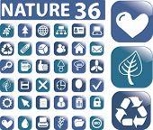 nature 36 buttons set. vector