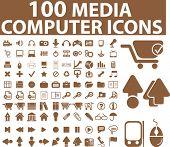 100 general media & computer icons. vector