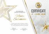 Official Certificate With Gold, Transparent Design Elements And Gold Star. Business Modern Design. G poster