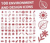 100 environment & design icons. vector