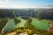 Meanders Of The Uvac River, Serbia. Beautiful Summer Top View Of The Uvac River Canyon Meanders, Ser poster