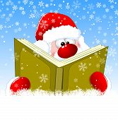 Santa Is Reading A Book On Christmas Eve. Winter Background With Snowflakes. Winter Reading Santa Cl poster