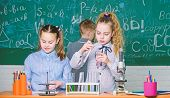 Kids In Classroom With Microscope And Test Tubes. Children Study Biology Or Chemistry School. School poster