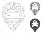 Mesh Taxi Car Marker Model With Triangle Mosaic Icon. Wire Frame Polygonal Mesh Of Taxi Car Marker.  poster