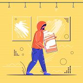 Burglar Stealing Museum Exhibits Crime Scene Stealing Theft Concept Robber Holding Picture Modern Ar poster