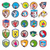 Set Or Collection Of Cartoon Character Mascot Icon Style Illustration Of A Weightlifter, Tennis Play poster
