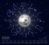 Astrology Calendar For 2020 Year With Zodiacal Circle. Lighted Moon, Star Signs With Dates Of Birth  poster