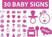 30 baby signs. vector