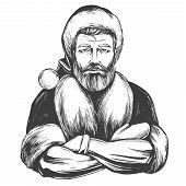 Modern Santa Claus Macho Man, Christmas Symbol Hand Drawn Vector Illustration Sketch poster