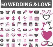 50 wedding & love signs. vector
