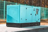 Street Lighting. Industrial Generator That Generates Current. Reserve. There Is Tinting poster