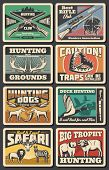 Hunting Open Season, Wild Animals And Wildfowl Hunt Club. Vector Hunter Traps Warning Sign, Elk And  poster