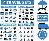 4 travel signs sets. vector