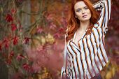 Smiling redhead outdoors backlit by sun, fashion shoot. Close up woman portrait . redhair girl. Beau poster