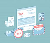 Payment Of Accounts And Taxes. Filling And Calculating Tax Form. Document Form, Bill, Calculator, En poster