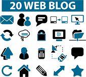 20 web blog icons 2.0, vector