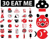 30 eat me icons, signs, vector
