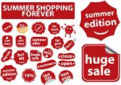summer shopping forever stickers, vector